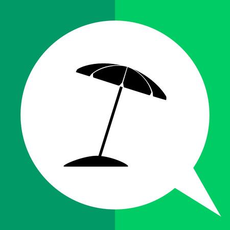 sun umbrella: Monochrome vector icon of sun umbrella on beach