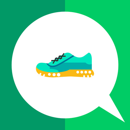 Multicolored flat icon of one blue sport shoe on yellow sole Illustration