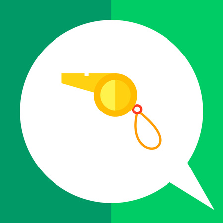 Multicolored vector flat icon of yellow sport whistle