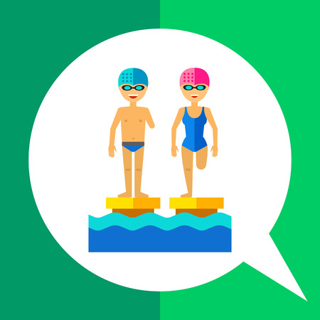 infirm: Multicolored flat icon of disabled people with amputated limbs in swimming pool Illustration