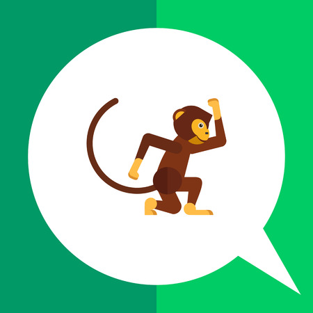 swinging: Multicolored vector icon of funny swinging monkey