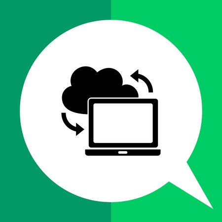 synchronization: Laptop with cloud sign. Synchronization, download, Internet, technology. Synchronization concept. Can be used for topics like technology, network, Internet
