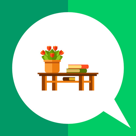 indoor bud: Multicolored vector icon of red potted flowers and three books on table Illustration