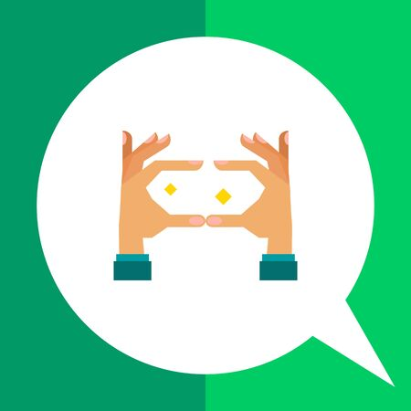zooming: Multicolored vector icon of pinch hand gesture for zooming