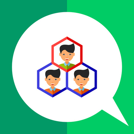 Three men heads in adjoining hexagons. Leadership, professional, team. Quality management concept. Can be used for topics like business, management, production.