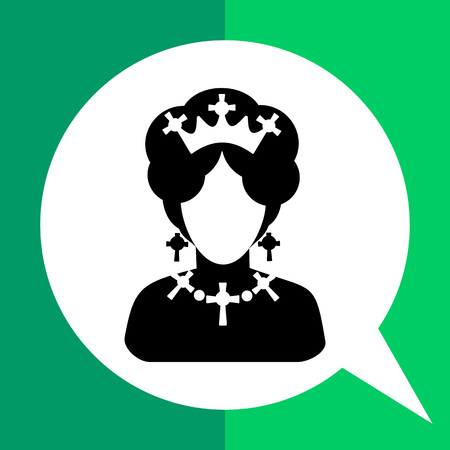 Monochrome vector icon of queen of England faceless silhouette