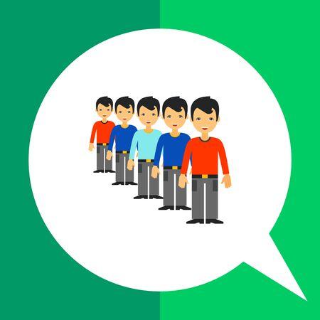Multicolored vector icon of men standing in queue