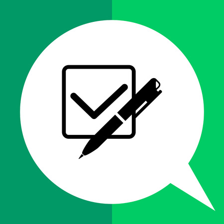 quiz test: Monochrome vector icon of checkmark in checkbox and pen, representing quiz test