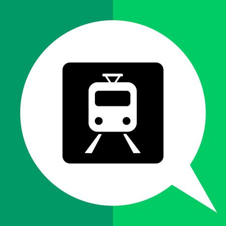 locomotion: Monochrome vector icon of train on rails in black square representing railway concept