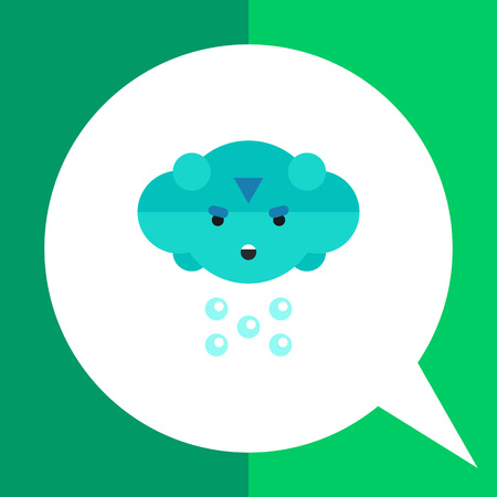 frown: Multicolored vector icon of cloud with frown face and rain Illustration