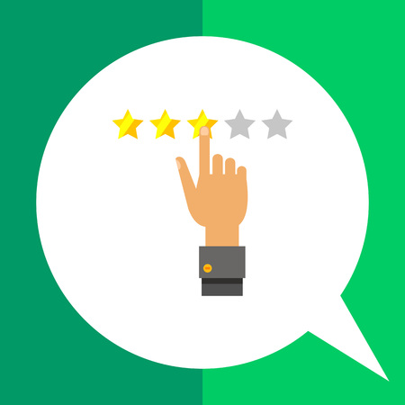 selecting: Multicolored vector icon of human hand selecting three star rating