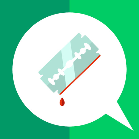 Multicolored vector icon of metal razor blade with blood drop on edge Illustration