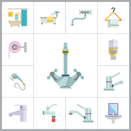chrome ball: Bathroom Icon Set. Sink And Mirror Towel On Hanger Toilet Pan Toilet Paper Shower Spray Bath Tube Bathroom Interior Water Tap Mixer Tap Faucet With Hose Chrome Mixer Tap Ball Valve Silver Water Tap