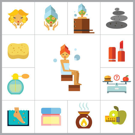 woman bath: Beauty Icon Set. Woman With Curls Diet Concept Aroma Lamp Face Cream Fish Peeling Products On Scales Lipstick Sponge Stone Therapy Perfume Woman With Mudpack On Face Woman In Bath Woman In Steamroom Illustration