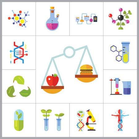 productos quimicos: Icono de la biolog�a Set. Estructura celular frasco de la prueba de tubo Productos En Escalas de calefacci�n del tubo de ensayo del Genoma Humano de la mol�cula de ADN plantas gen�ticamente modificadas a base de plantas C�psula qu�mica experimento de Creative Reciclaje de la muestra