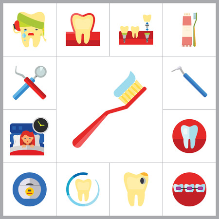 stomatology: Dental Icon Set. Toothache Tooth Implant Dental Floss Interdental Brush Caries Braces Dental Care Insomnia Healthy Tooth Stomatology Tooth Brush Toothpaste