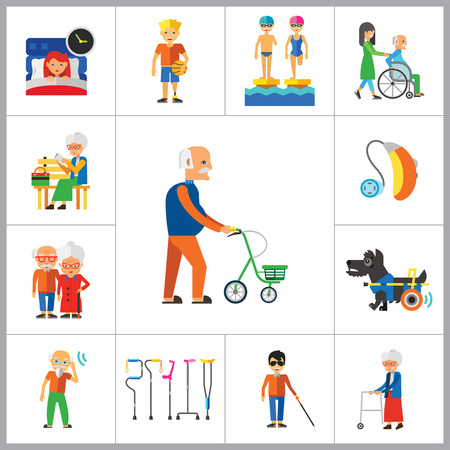 old age: Disabled Icon Set. Blind Crutches Deaf Hearing Aid Insomnia Walker Elderly People Old Age Sportsman With Prosthesis Nurse And Patient Amputated Limbs Disabled Dog