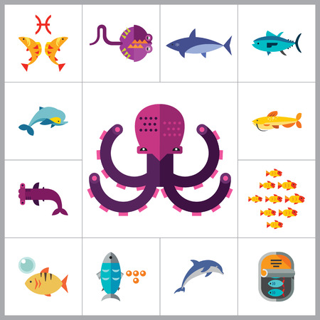 tuna fish: Fish Icon Set. Pieces Octopus Dolphin Shark Catfish Canned Fish Tuna Fish Shoal Caviar Hammerhead Fish Sea Skate Goldfish