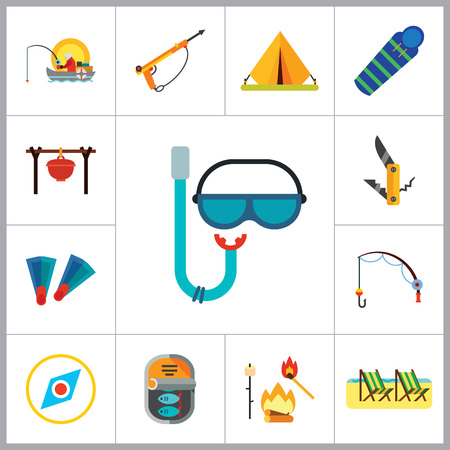 Fishing Icon Set. Summer Fishing Canned Fish Flippers Diving Mask And Snorkel Beach Camping Tent Campfire Fishing Rod Sleeping Bag Pocket Knife Compass Camping Pot