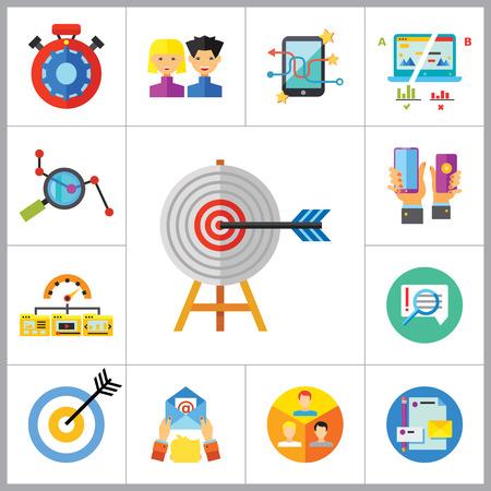 Icono de comercialización establecidas. Dirigidas a usuarios de Split Prueba de E-mail Marketing identidad de marca de marketing Análisis Social Media Marketing de procesamiento de SEO Manos objetivo con teléfonos inteligentes Product Placement