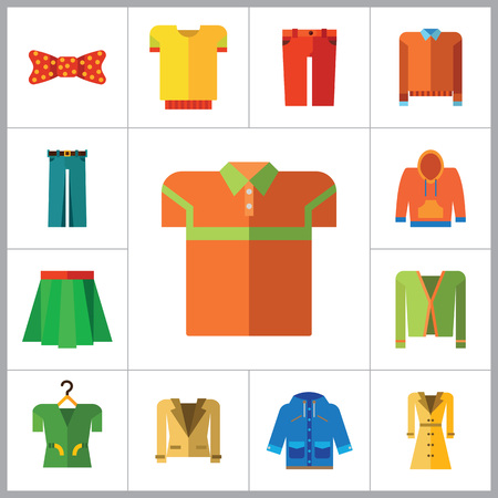 denim jacket: Modern Clothes Icon Set. T-shirt Jeans Bow Tie Hoody Sweatshirt Trousers Pleated Skirt Orange Sweater Coat Beige Jacket Polo Shirt Blue Raincoat Green Jacket Clothes On Hanger