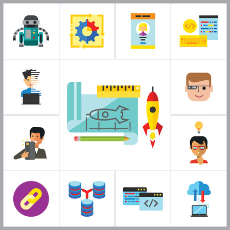 prototype: Programming Icon Set. Robot Database Hyperlink Programmer Programming Prototype Interface Workflow Cloud Storage Coding Smart Glasses Man With Smartphone Creative Idea