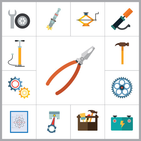 thirteen: Service vector icons set. Thirteen flat icons of spanner, gear wheels, tire inflator and other instruments