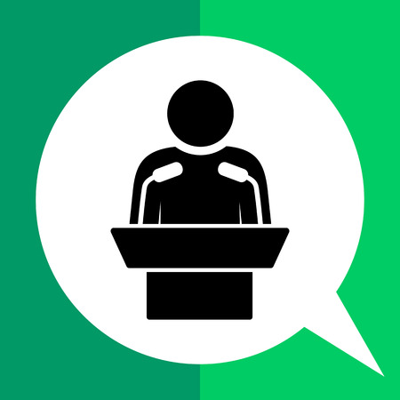 Speaker. Orator, speechmaker, leader, presentation. Speaker concept. Can be used for topics like business, leadership, communication, business Ilustração
