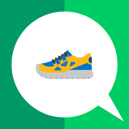 sport shoe: Multicolored flat icon of one blue and yellow sport shoe