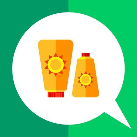 sunblock: Sunblock cream icon. Multicolored vector illustration of two skin cream tubes with sun sign