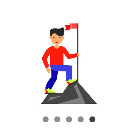 goal setting: Man reached mountain top setting flag. Success, goal, challenge. Achievement concept. Can be used for topics like business, management, finance.