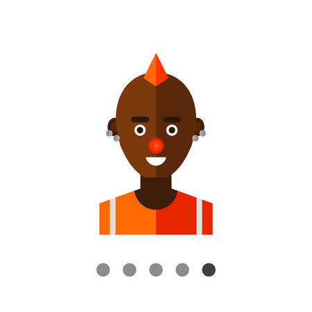 original single: Multicolored vector icon of male  African American freak character with mohawk hairdo, red nose and piercing Illustration