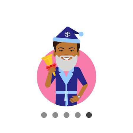 fake smile: Male character, portrait of African American man wearing Santa costume, holding handbell Illustration