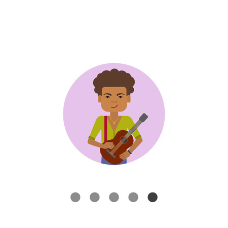 Male character, portrait of smiling African American man holding guitar