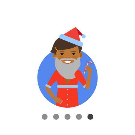 fake smile: Female character, portrait of African American woman wearing Santa costume and holding candy cane Illustration