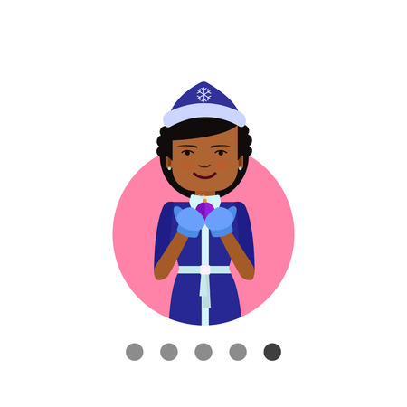 Female character, portrait of African American woman wearing fancy dress, holding Christmas ball