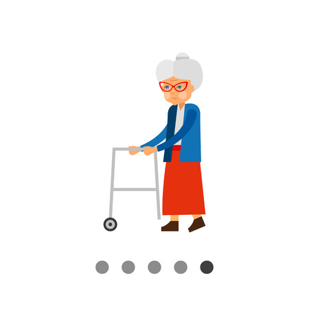 Aging vector icon. Multicolored illustration of elderly woman with rolling walkers