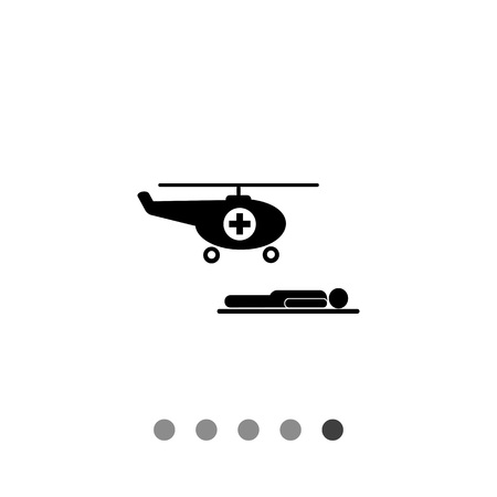 Air ambulance vector icon. Simple illustration of air medical helicopter and patient on stretchers
