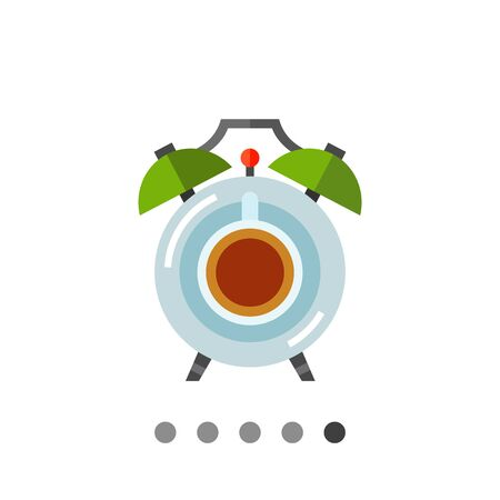 awaking: Icon of coffee cup with saucer in form of alarm clock with two bells Illustration