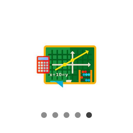 algebra calculator: Multicolored vector icon of green blackboard with graph and equation, abacus and calculator representing algebra