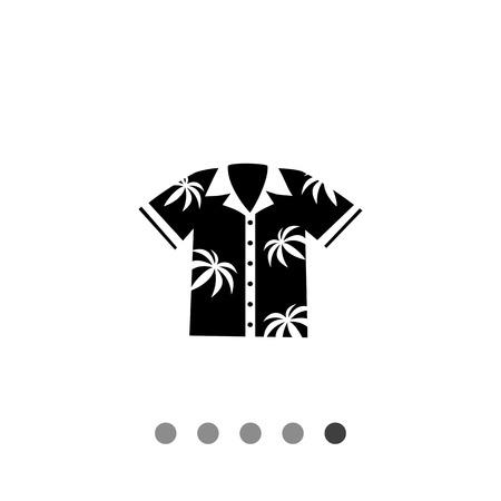 aloha: Monochrome vector icon of Hawaiian Aloha shirt with palm print