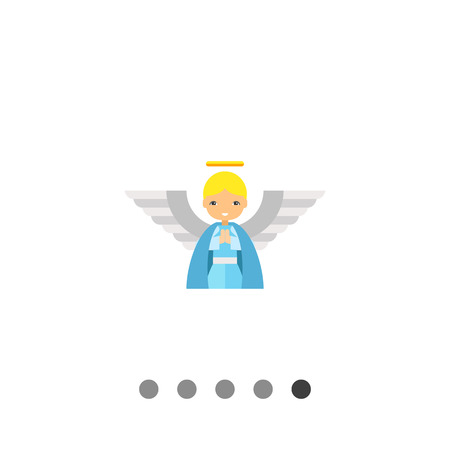 tunic: Icon of cute cartoon blonde angel in blue tunic with large white wings and golden nimbus Illustration