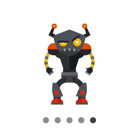 humanoid: Angry humanoid robot. Funny, futuristic, intelligence. Robot concept. Can be used for topics like technology, electronics, mechanics.