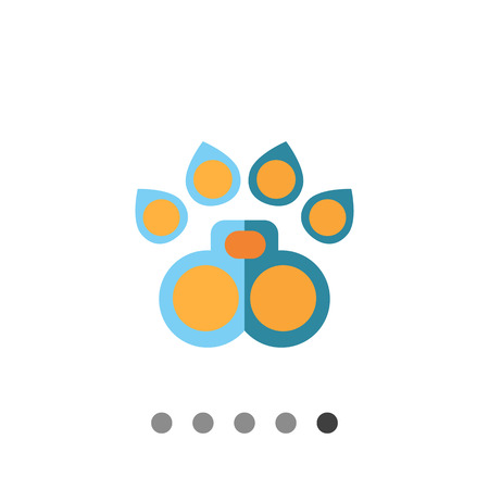 trace: Multicolored vector icon of orange and blue animal paw trace