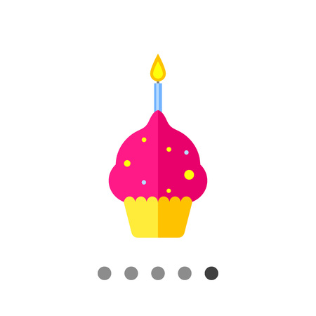 burning candle: Multicolored vector icon of anniversary cake with one burning candle