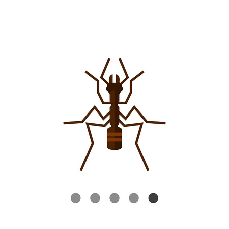 chitin: Multicolored vector icon of ant, top view