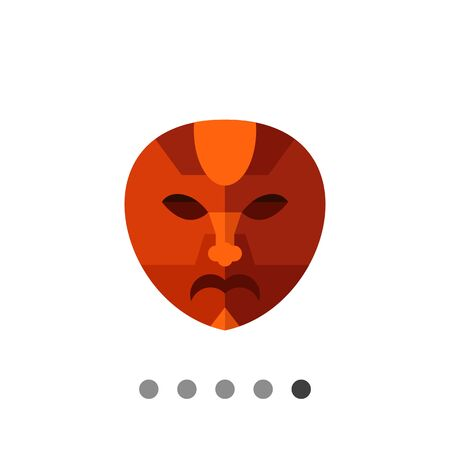 african mask: Multicolored vector icon of brown African mask