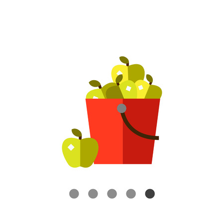 green apples: Multicolored vector icon of green apples in red bucket