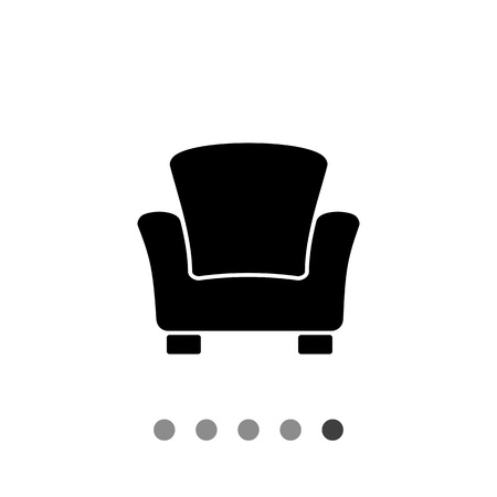 Monochrome vector icon of armchair with high back and armrests Illustration