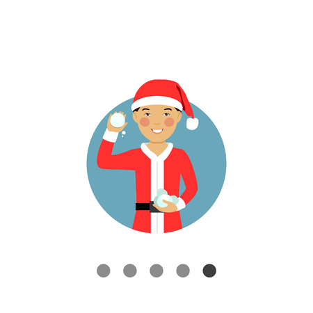 palle di neve: Male character, portrait of smiling Asian teenage boy wearing Santa costume, holding snowballs Vettoriali